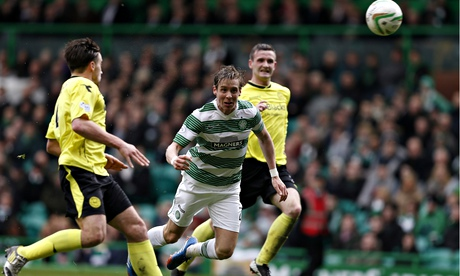 Celtic's Stefan Johansen scores against St Mirren in their Scottish Premiership match at Celtic Park